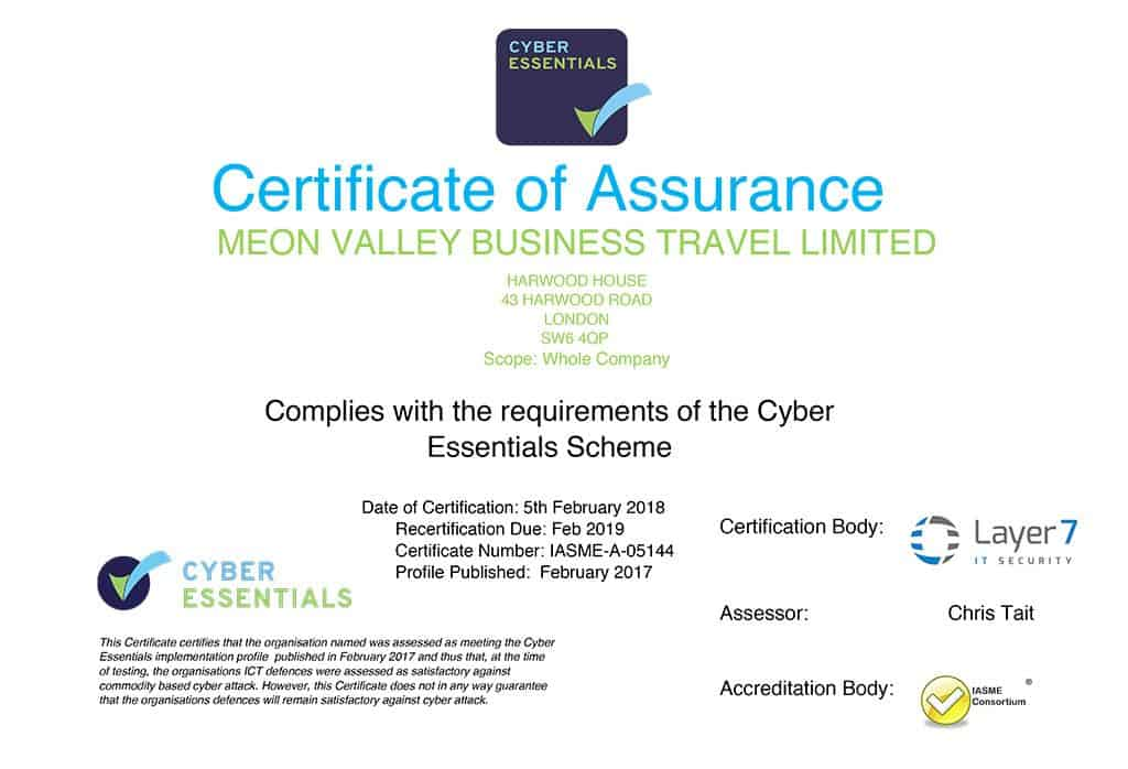 Cyber Essentials GDPR Meon Valley Travel