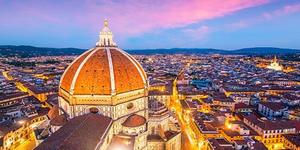 View of Florence skyline from top view